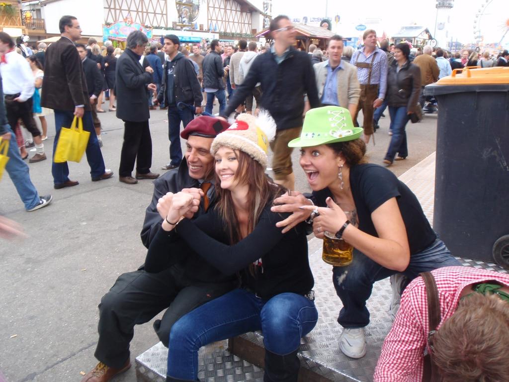 Happy festival visitors