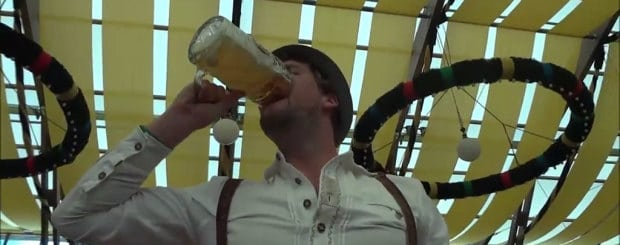 Man drinks Stein in 5 seconds at Oktoberfest