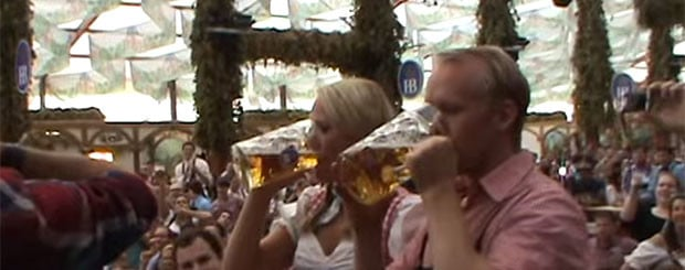 Oktoberfest Girl Drinking Beer