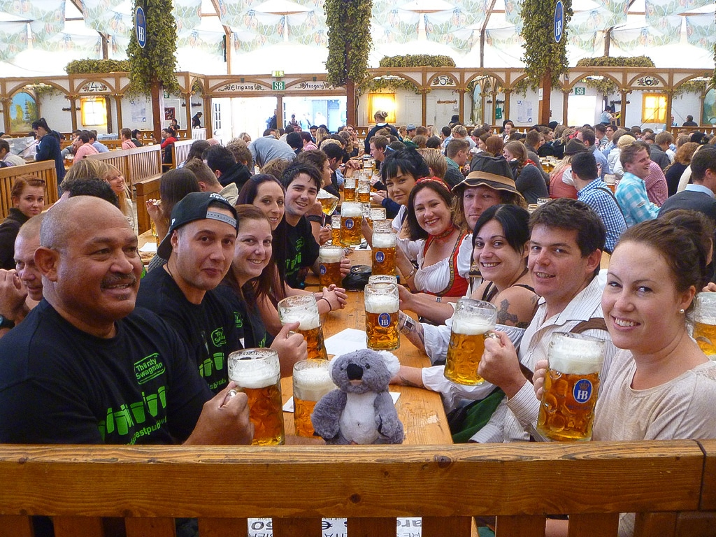 Group fun at Oktoberfest in Munich, Germany