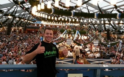 Thumbs up for scoring table reservations in the Oktoberfest beer tent in Munich, Germany
