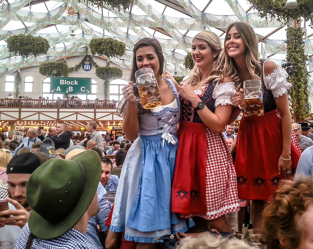Oktoberfest girls in a beer tent in Munich, Germany