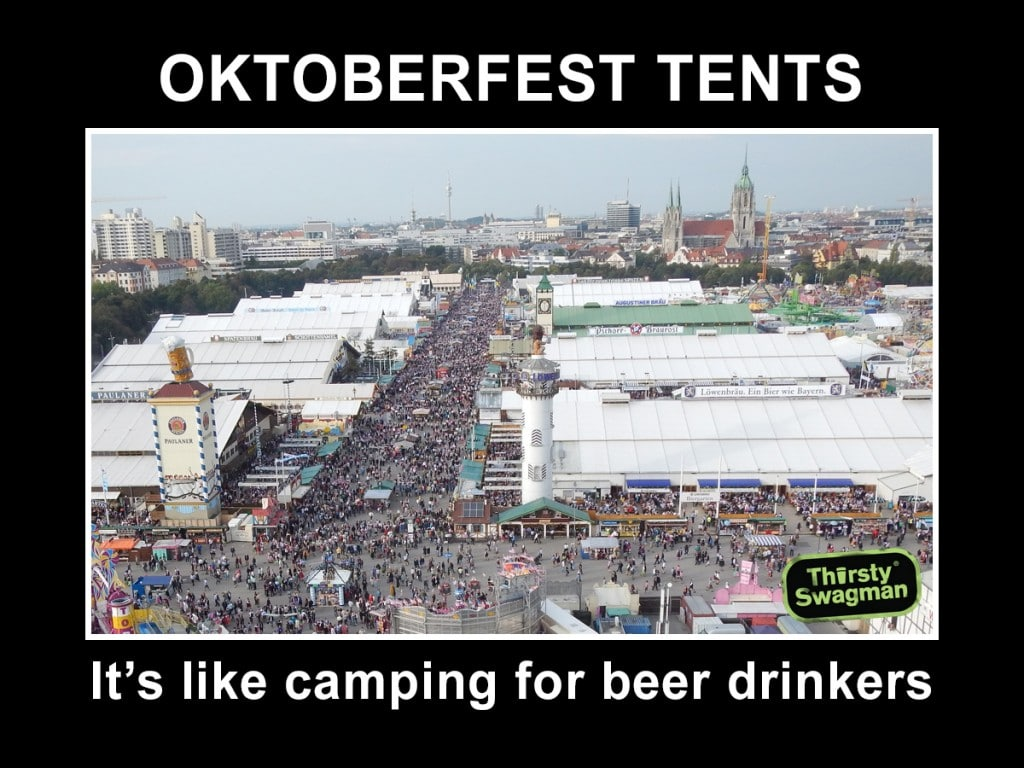 oktoberfest beer tents: camping for beer drinkers